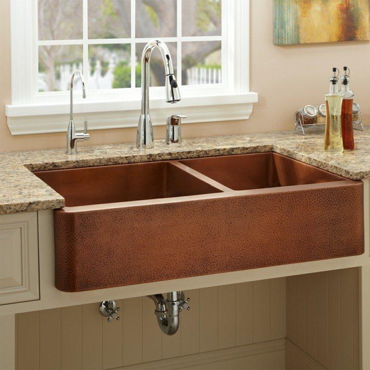 Fregaderos de cobre: 25 ideas para la cocina -