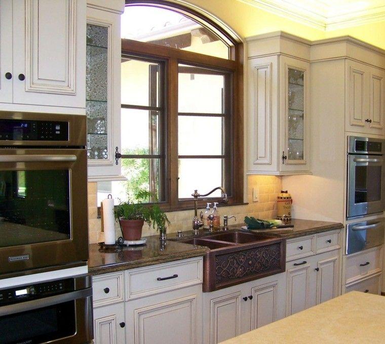 fregaderos cobre cocina estilo clasico ideas