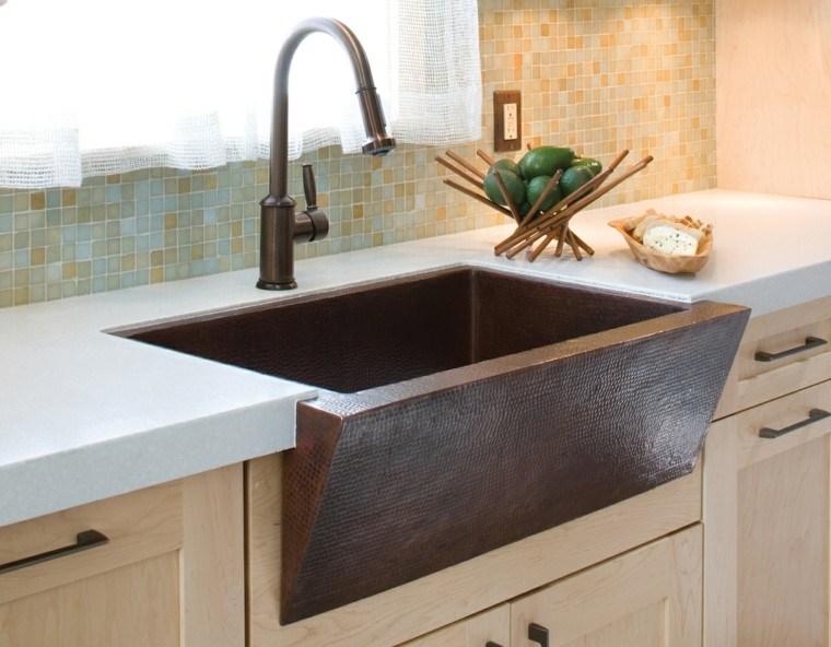 fragaderos cobre cocina muebles madera natural ideas