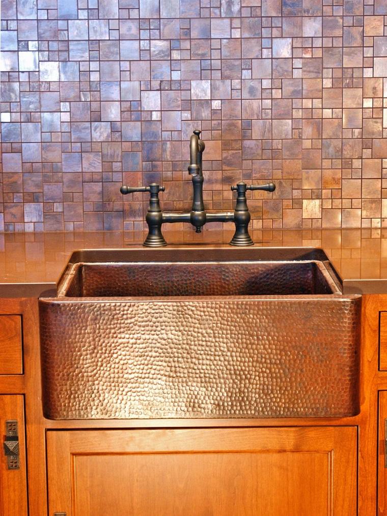 fregaderos cobre cocina pared ceramica ideas