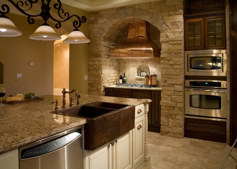 fregadero cobre cocina pared ladrillo ideas
