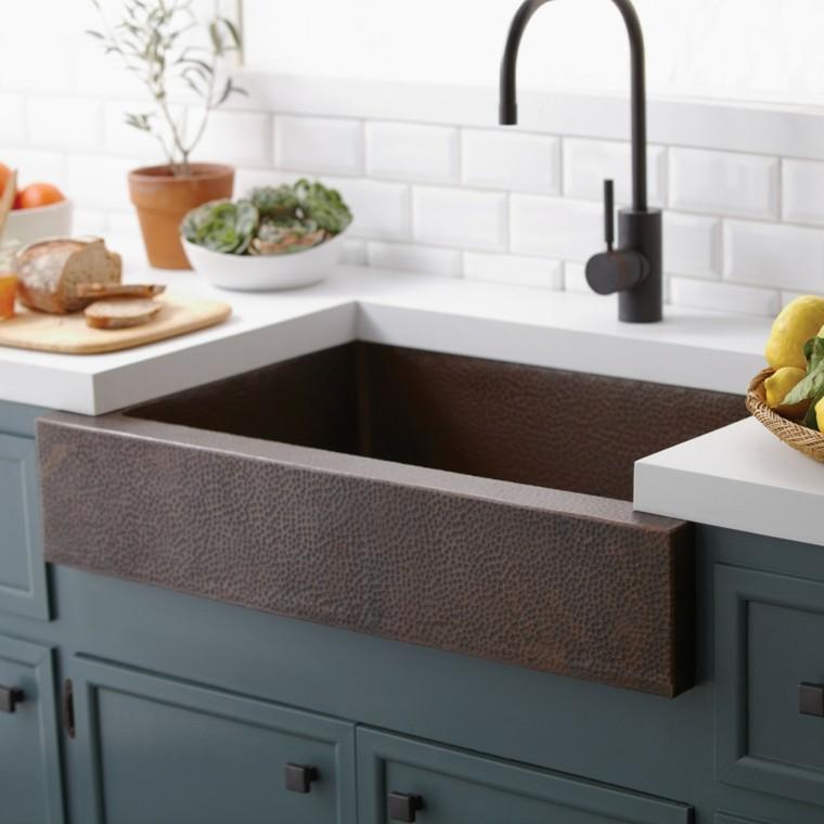 Fregaderos de cobre 25 ideas para la cocina - Losas para cocina ...