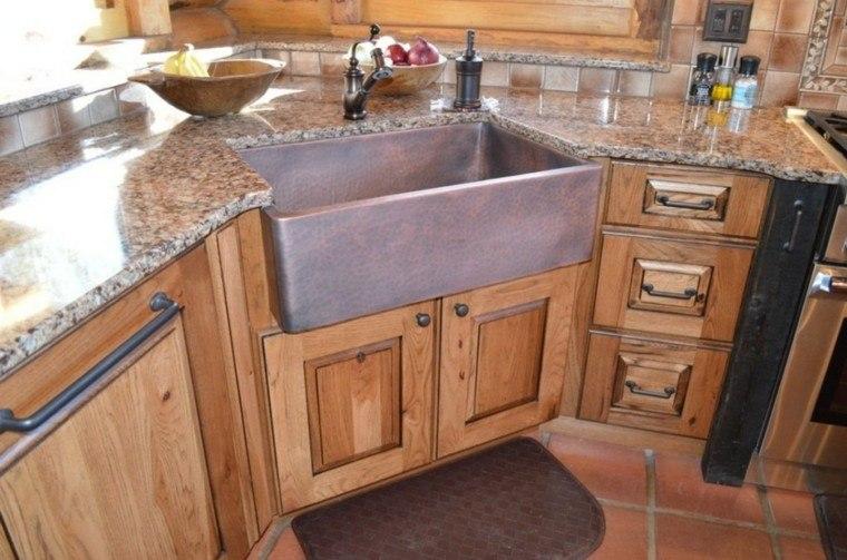 Fregaderos de cobre 25 ideas para la cocina - Fregadero de granito ...