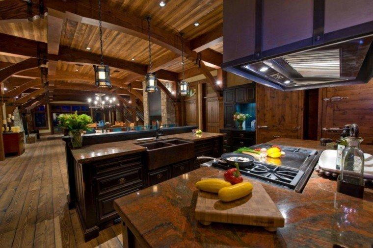 fragaderos cobre cocina casa rural isla ideas