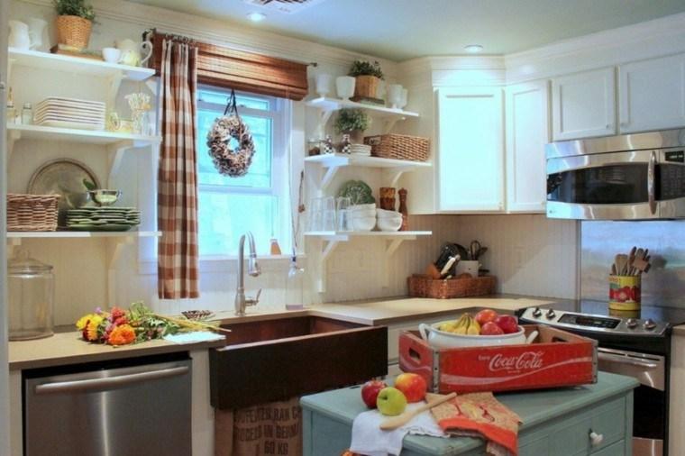 fragaderos cobre cocina estanterias blancas abiertas ideas