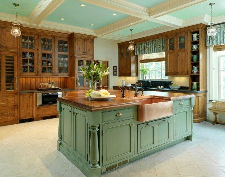 fragaderos cobre cocina isla madera verde ideas
