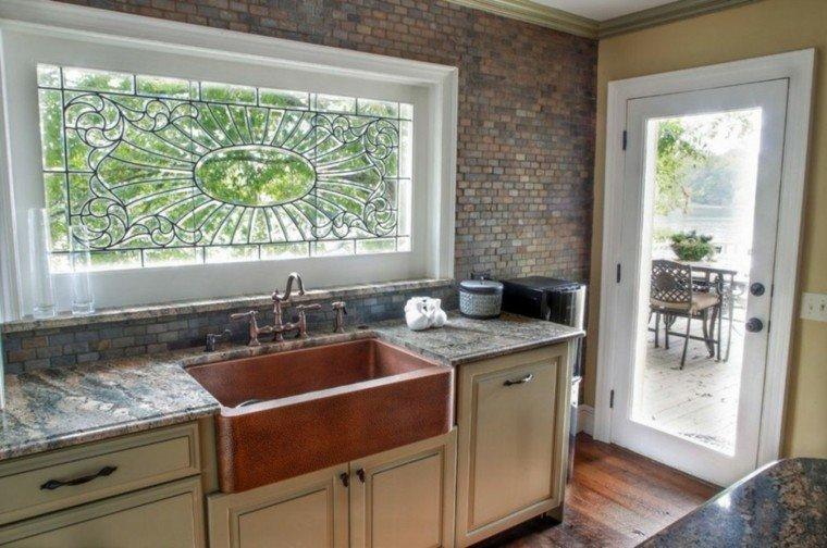 fragaderos cobre cocina pared ladrillo ideas