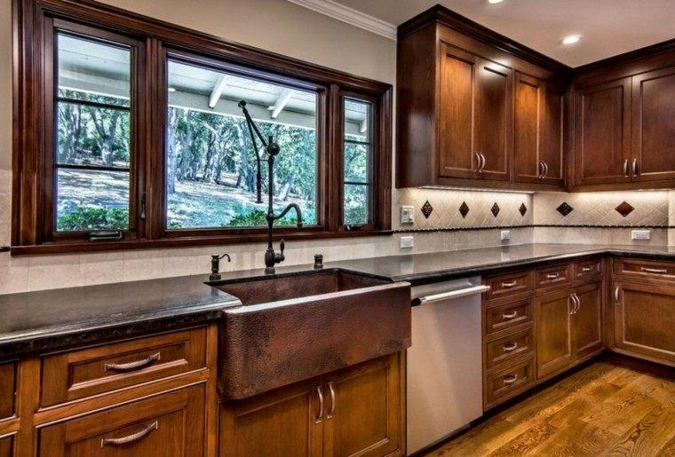 fragaderos cobre cocina pared losas blancas ideas
