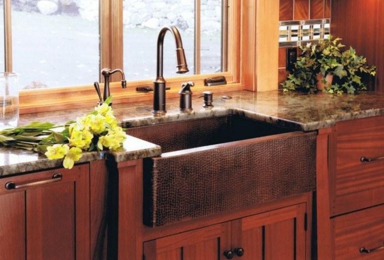fragaderos cobre cocina textura puntos armarios madera ideas