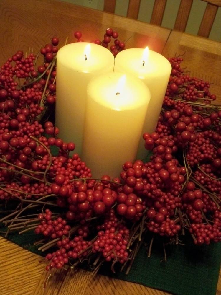 frutas centro velas estilo rojo