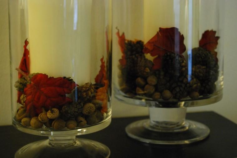 fuentes jarrones vidrio bellotas dentro
