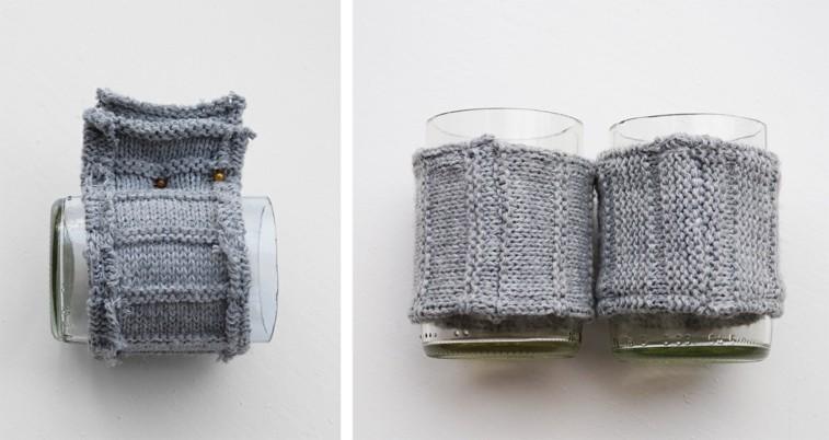 fundas vasos lana color gris