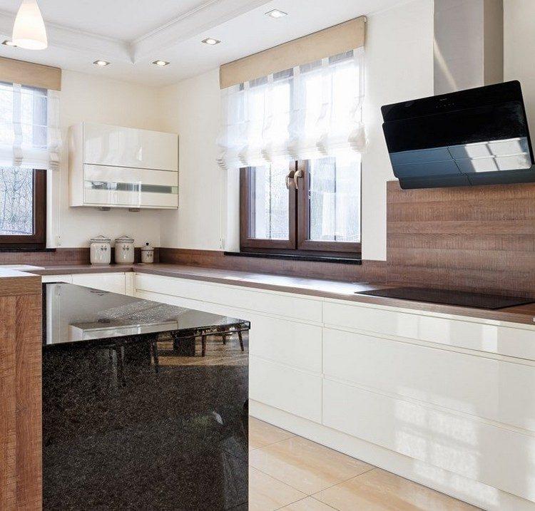 granito elegante madera natural estantes