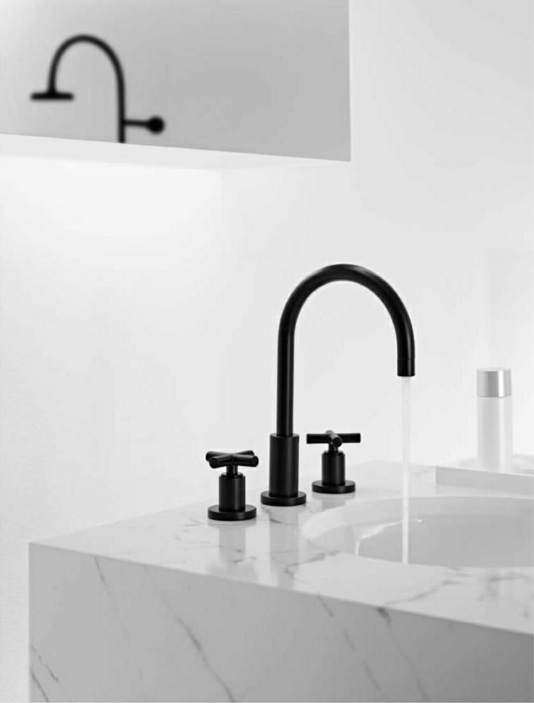 grifo negro lavabo marmol retro
