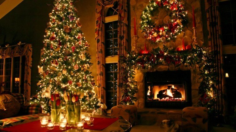 guirnaldas de luces decora chimenea arbol navidad grande ideas