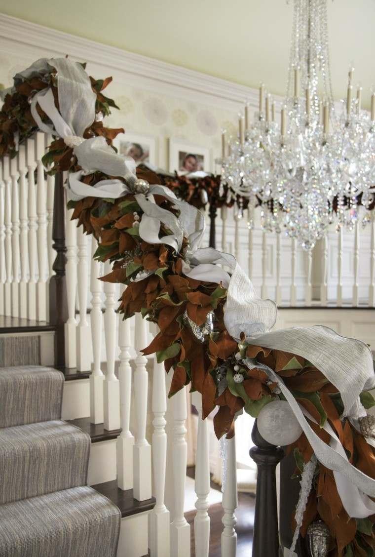 guirnalda hojas magnolia marrones lazo