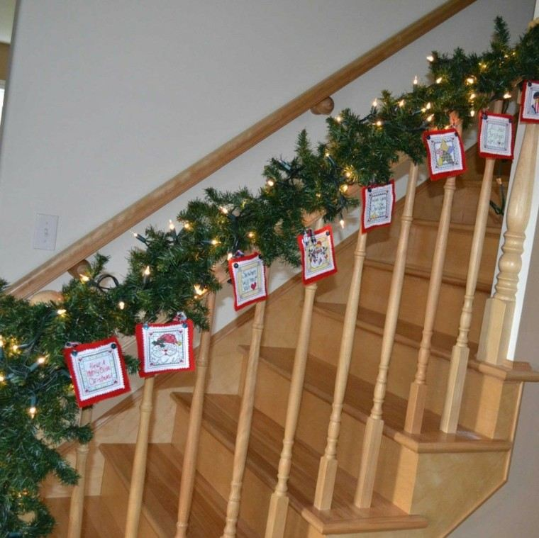 guirnalda navideña luces adornos tela
