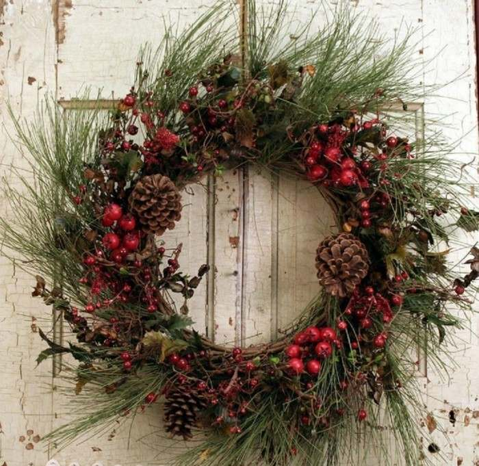 adornos navideos rsticos para exterior guirnalda navidad puerta entrada