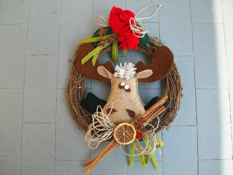 guirnalda navidad cabeza reno tela ramas arbol ideas