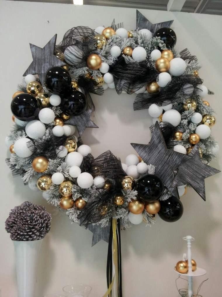 guirnalda navidad colores blanco negro bolas estrellas ideas