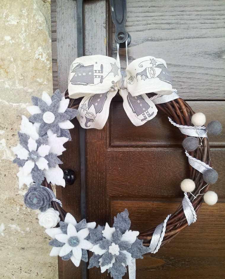 guirnalda navidad decoraciones tela lazo ideas