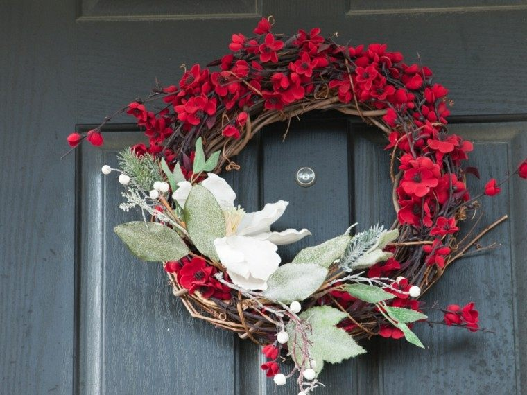 guirnalda navidad flores frescas rojas ideas