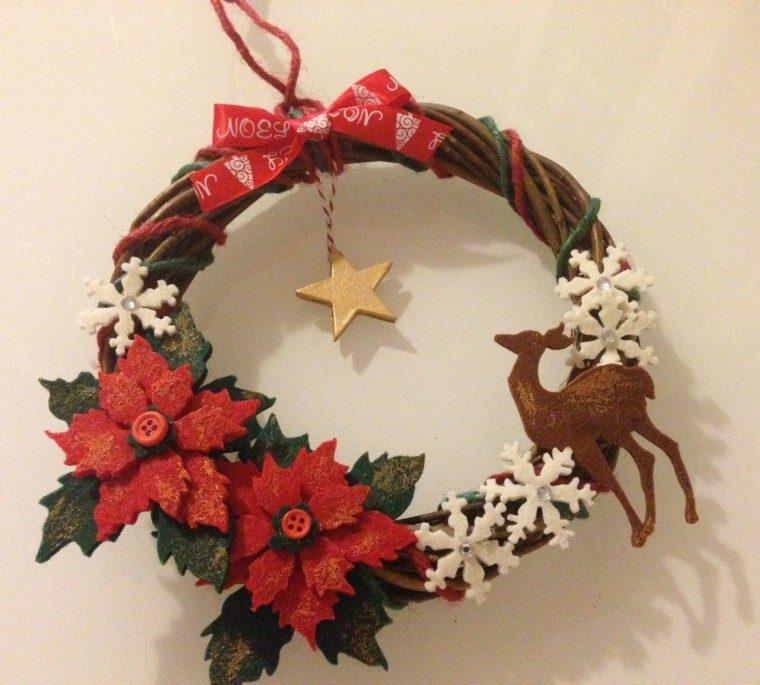 guirnalda navidad flores reno estrella ideas