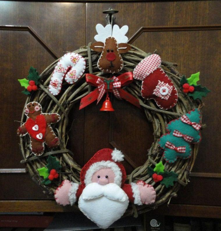 guirnalda navidad papa noel reno tela decorando ideas