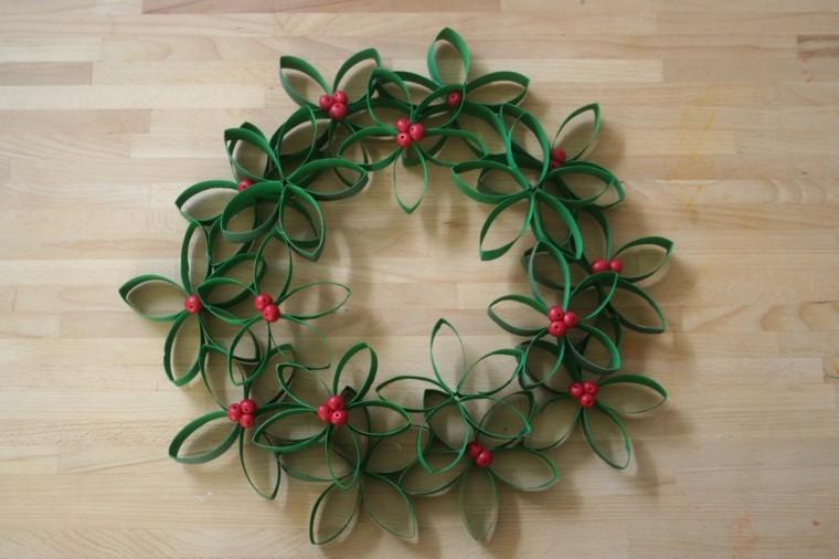 guirnalda navidad papel verde forma flores ideas