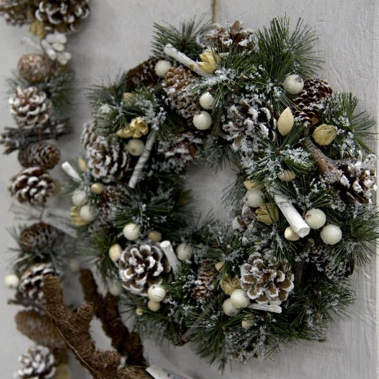guirnalda navidad puerta nieve artificial ideas