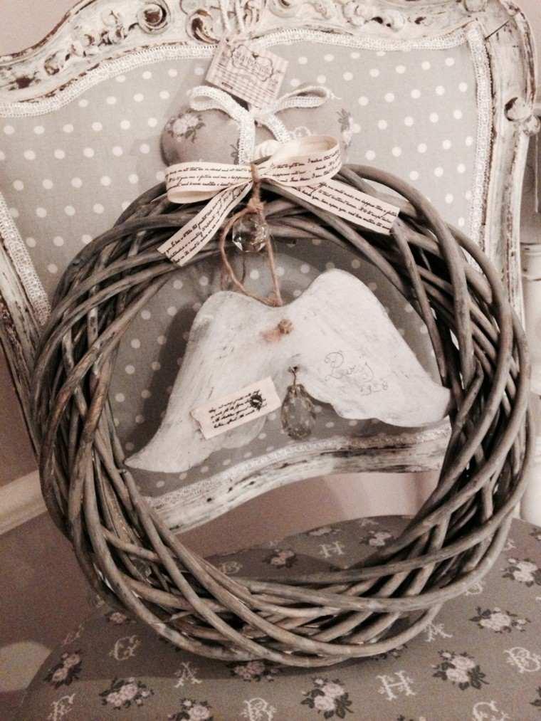 guirnalda navidad ramas alas angel lazos papel ideas