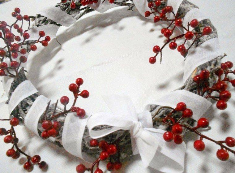 guirnalda navidad ramas arbol lazo blanco ideas