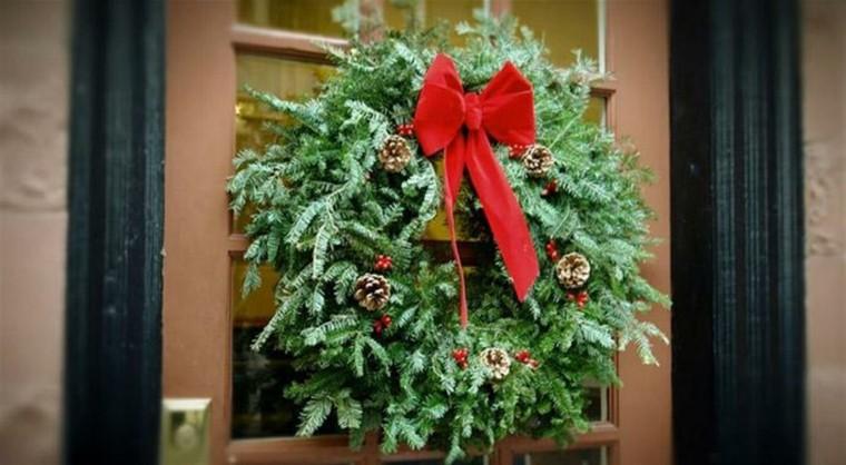 guirnalda navidad ramas arbol navidad lazo rojo ideas