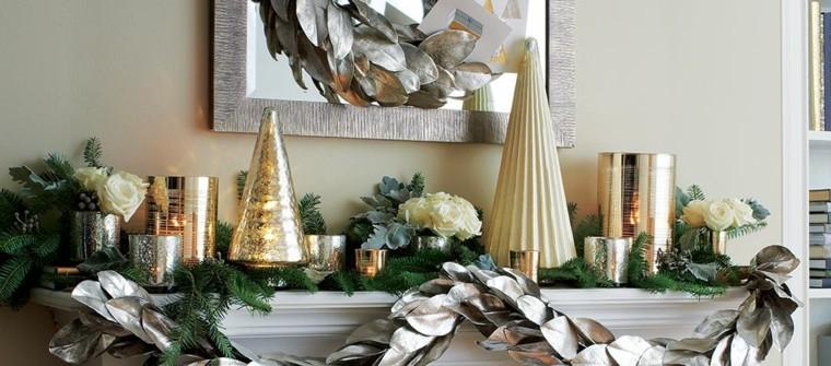 guirnalda navidad hojas magnolio plateadas