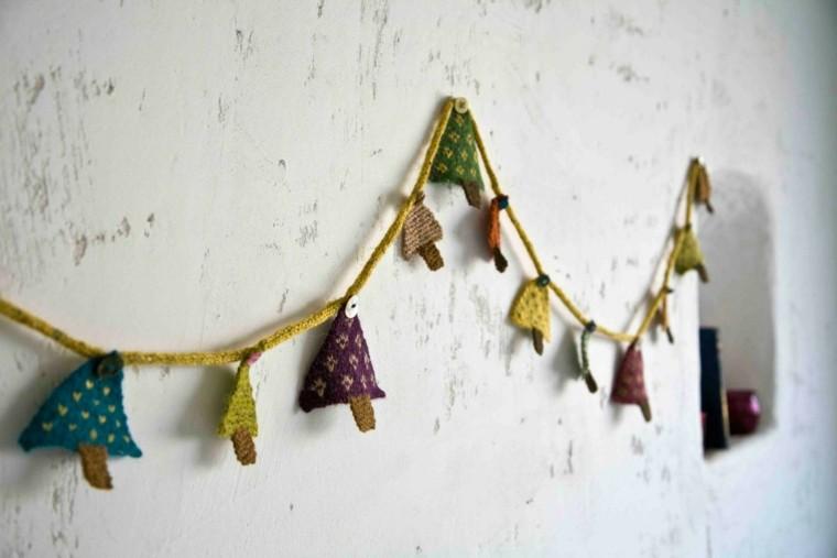 guirnalda navidad pequeños abetos tela