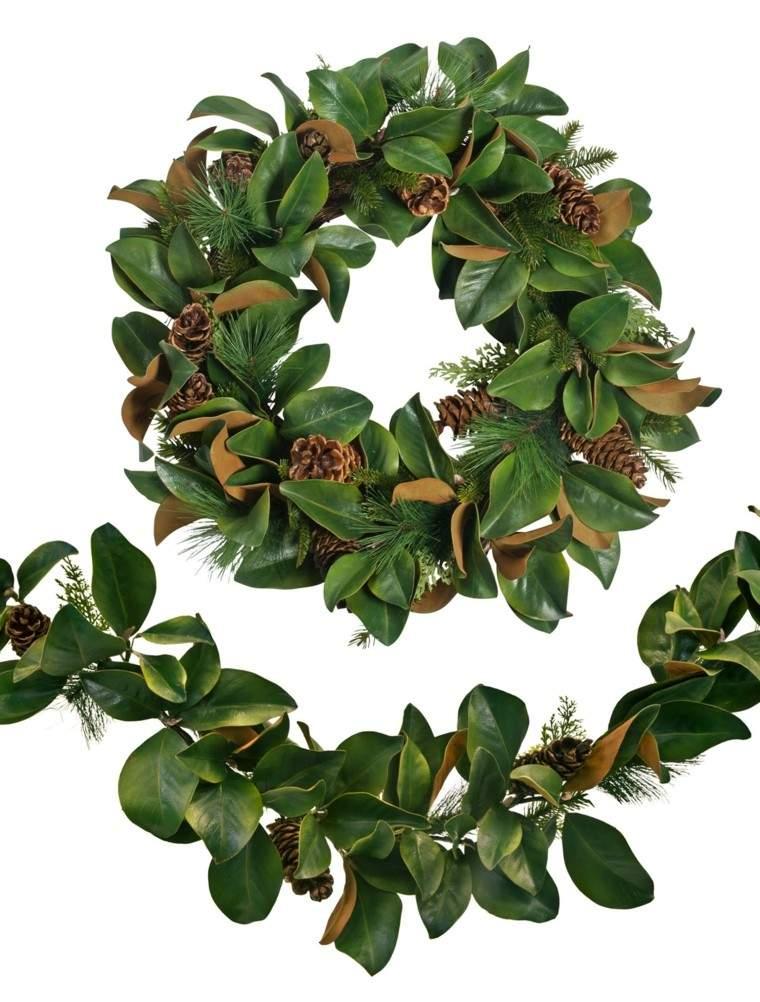 guirnaldas coronas hojas magnolio piñas pino