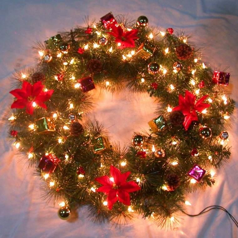 Guirnaldas de luces ramas papel flores para navidad - Guirnaldas de luces ...