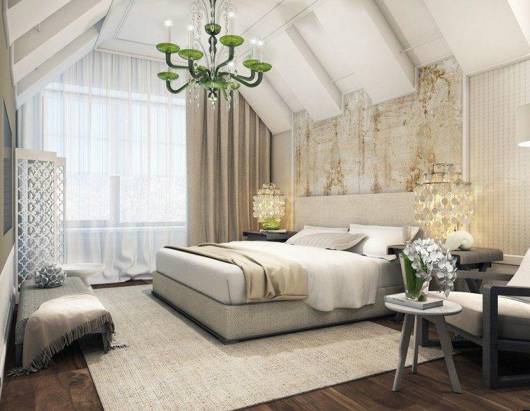 habitacion camas alfombras calida verde