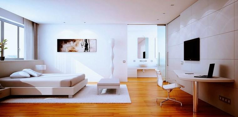 habitacion camas alfombras cuadro contraste