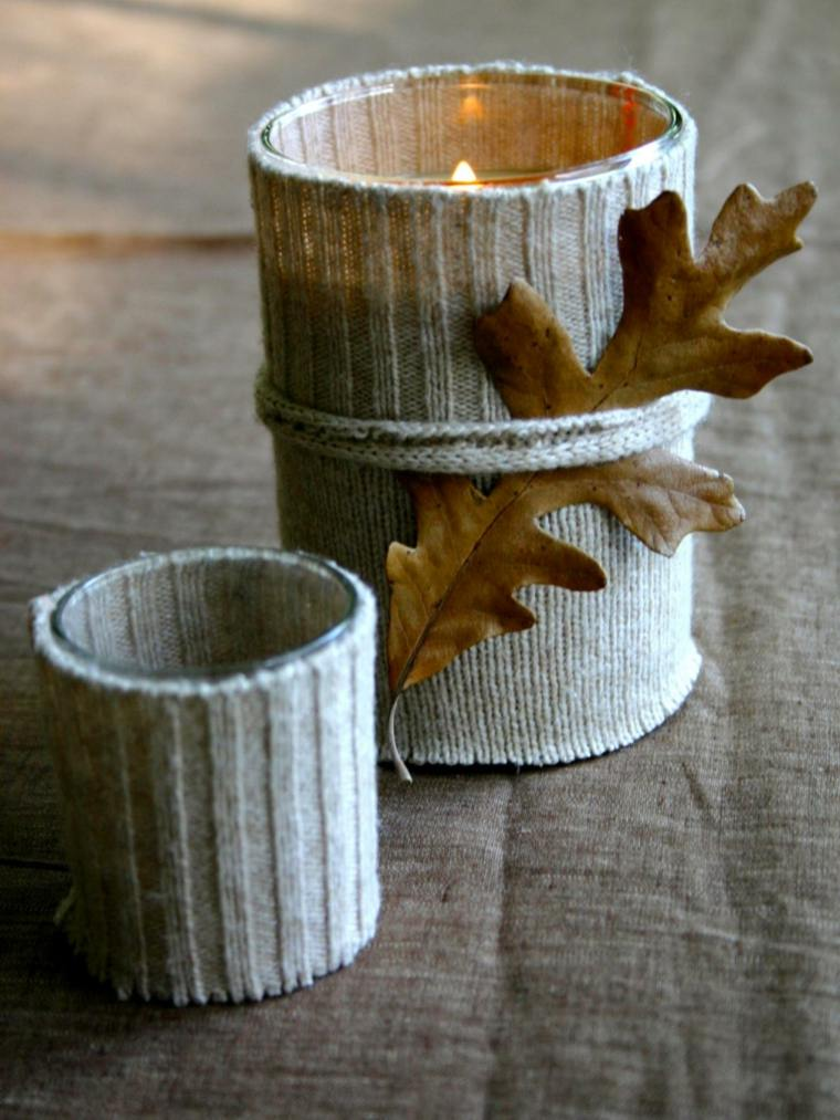 hojas secas lazo luces manualidades