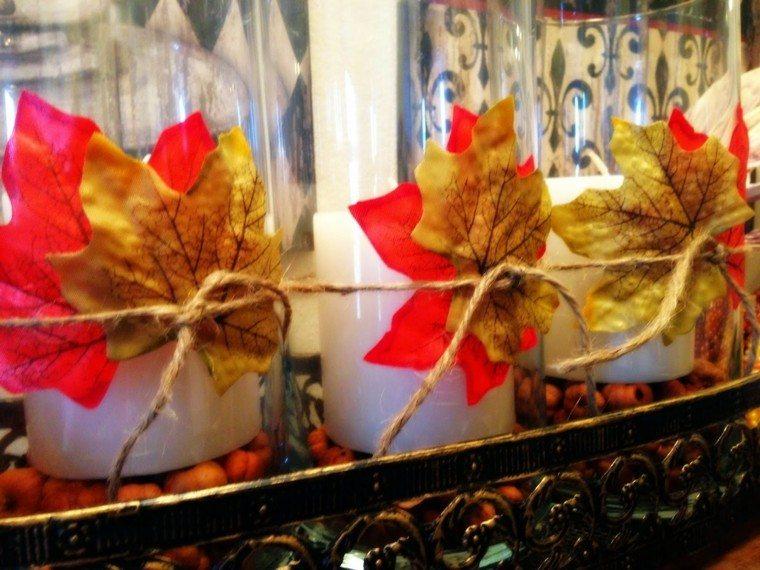 hojas secas lazo yute manualidad