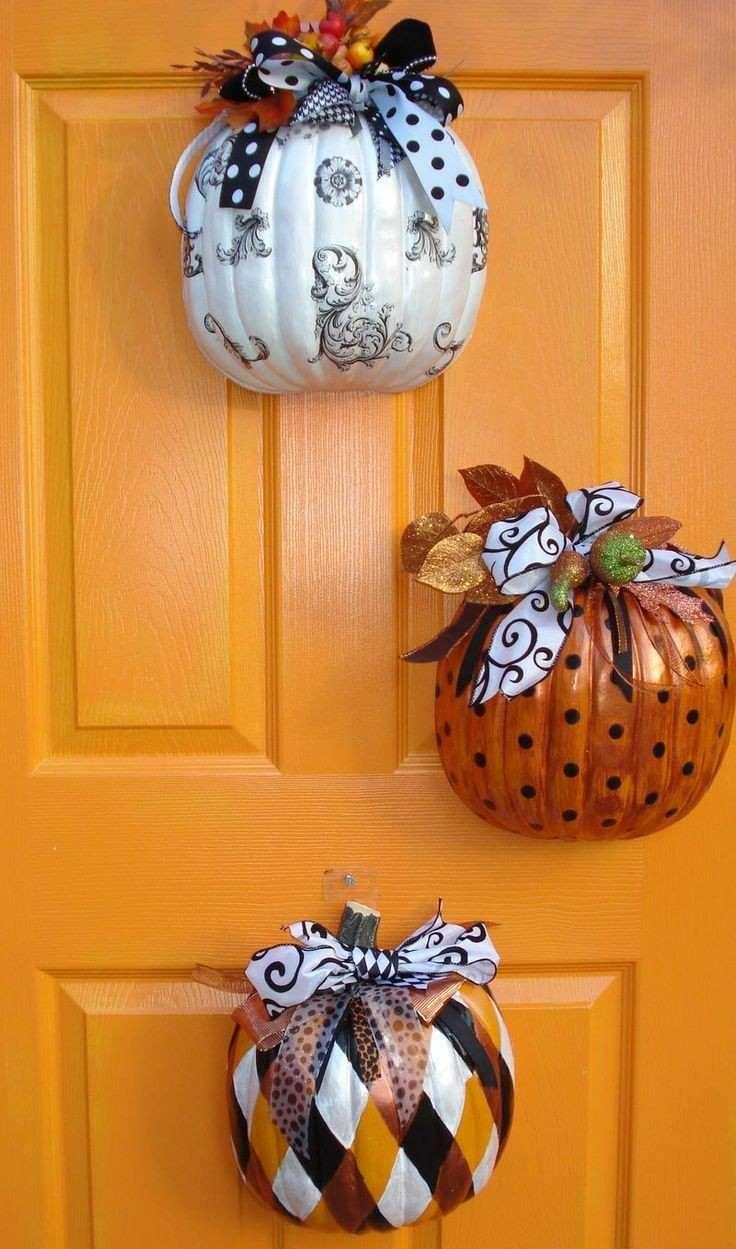 ideas calabaza falsa colgar puerta naranja bonitas