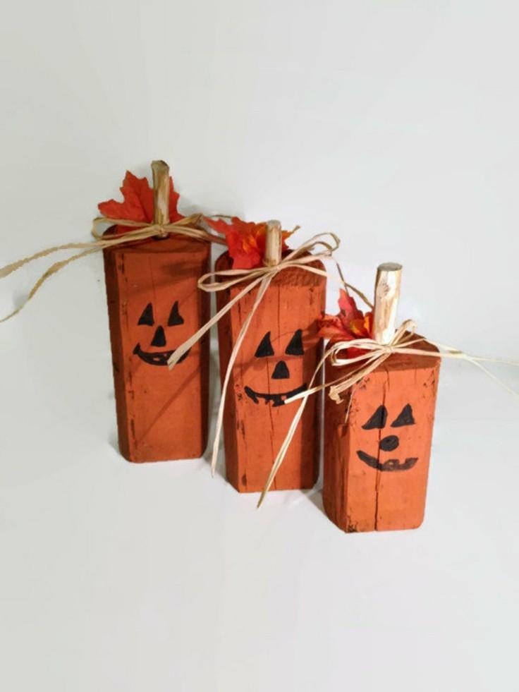 ideas calabaza falsa madera pintada naranja otono bonitas