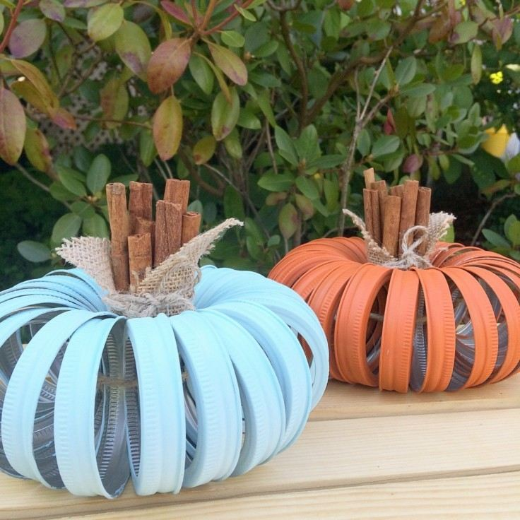 ideas calabaza falsas decoracion otono azul naranja bonitas