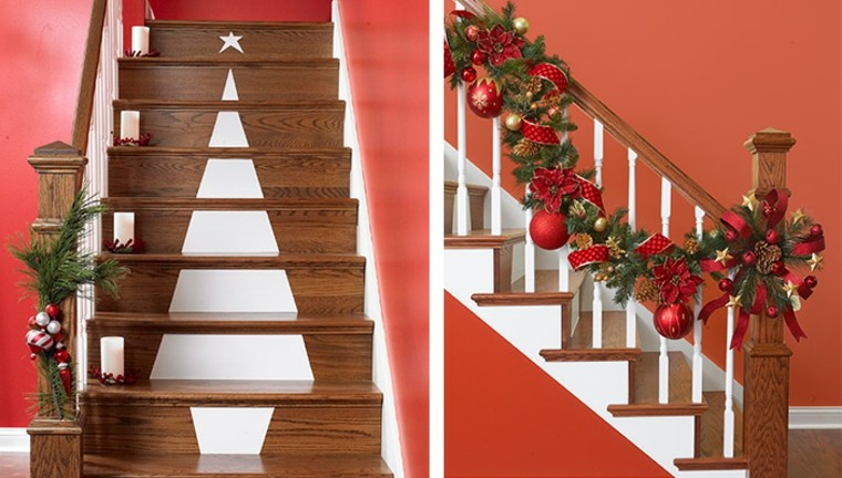 Ideas para decorar escaleras 75 propuestas para navidad for Decoracion para pared de escaleras