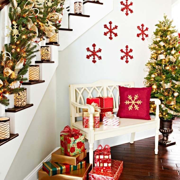 ideas para decorar escaleras navidad regalos nieve