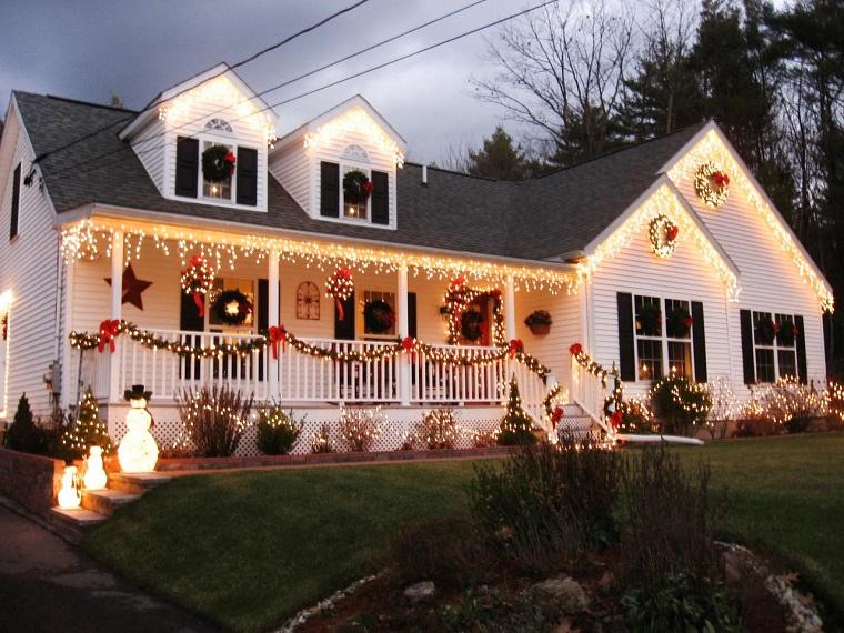iluminacion exterior decoracion navidad luces munecos nieve ideas