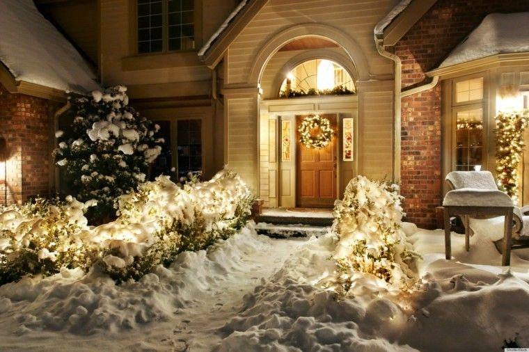 iluminacion exterior decoracion navidad luces nieve ideas