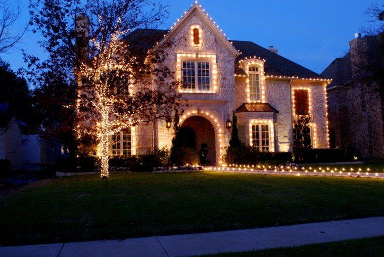 iluminacion exterior decoracion navidena luces arboles brillantes ideas