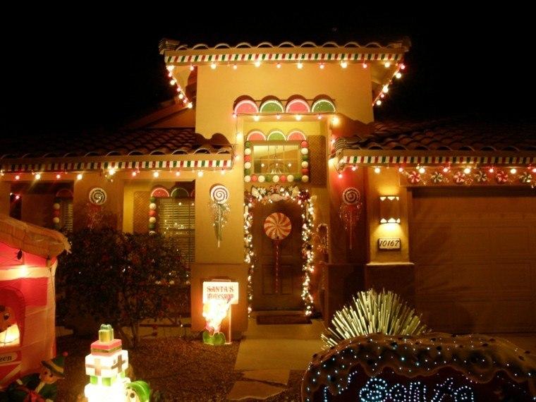 iluminacion exterior decoracion navideña luces entrada casa ideas
